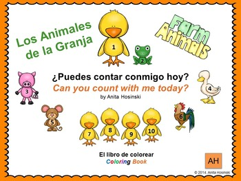 bilingual spanish counting coloring book numbers 1-10