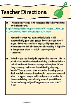 Can you fix my D.I.G? Editing Writing Practice Digital and Printable Versions