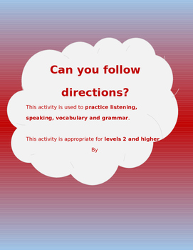 Can you follow directions? (Speaking and Listening Activity)
