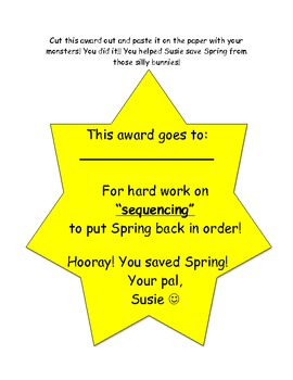 Can you help Susie SAVE SPRING? Sequencing Activity! Common Core Gr 2,3