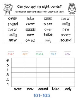 Can you spy my sight words? Fry Sight Words 101-125