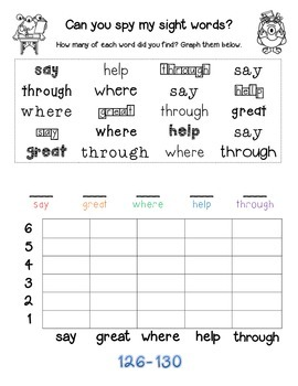 Can you spy my sight words? Fry Sight Words 126-150