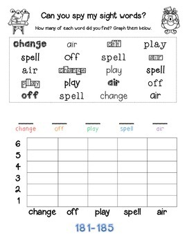 Can you spy my sight words? Fry Sight Words 176-200