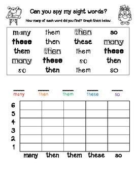 Can you spy my sight words? Fry Sight Words 51-75