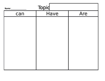 Can/Have/Are Graphic Organizer