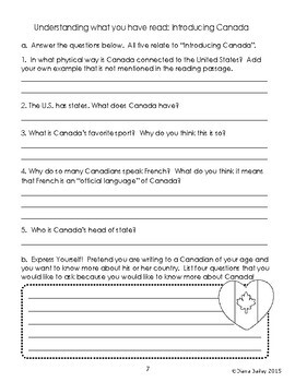 Canada Introduction Reading Passages Activities