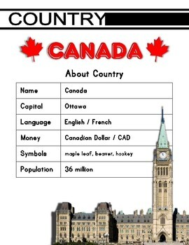 Canada Activity Set