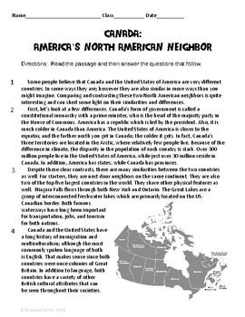 Canada:  America's North American Neighbor ELA Test Prep I