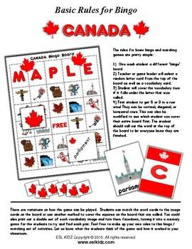 Canada Bingo Matching Activity Set