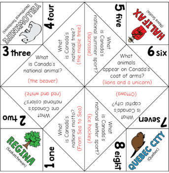 Canada Day Cootie Catchers