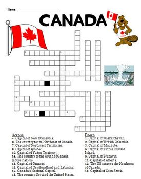 Canada Crossword Puzzle