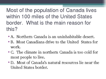 Canada Daily Warm-Ups Common Core Test Prep Questions Social Studies