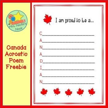 Canada Acrostic Poem Freebie
