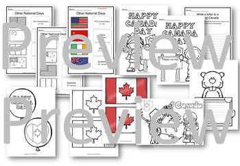 Canada Day Activity Pack Posters, Word Walls, Displays and Writing Prompts