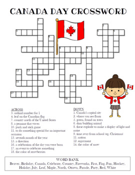 Canada Day Crossword Puzzle