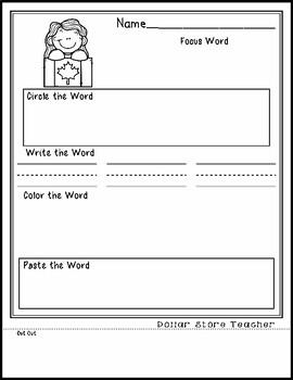 Canada Day - Editable Word Worksheet w/ Theme Focus