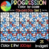 Canada Day Progression Color by Code ❤️Progression Clipart❤️SET 1