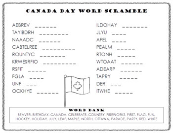 Canada Day Word Scramble and ABC Order Cut and Paste