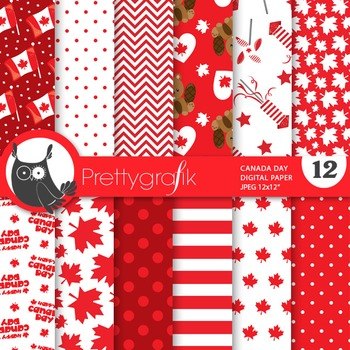Canada Day digital paper, commercial use, scrapbook papers