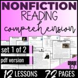 Reading Comprehension {Nonfiction Set 1/2} ELA Centers Literacy Worksheets (PDF)