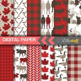 Canada Digital Paper Pack, Canadian Digital Backgrounds, Canada Scrapbook Paper