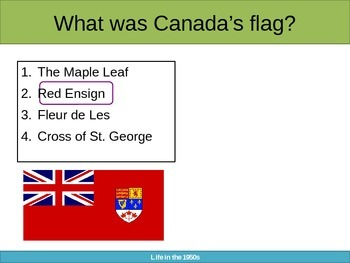 Canada During the 1950s and 1960s - A Powerpoint Survey Quiz