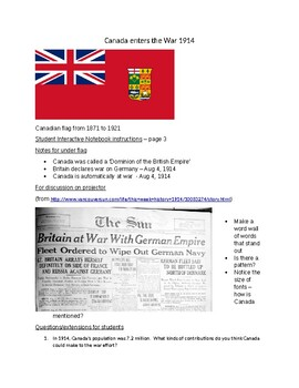 Canada Enters WWI - Interactive Notebook