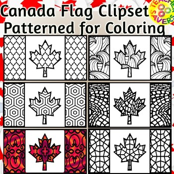 Canada Flag Coloring Clip Art Set Commercial and Personal Use