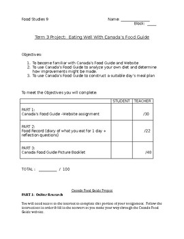 Canada Food Guide Project Student Booklet