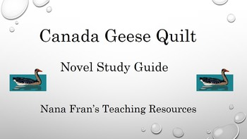Canada Geese Quilt Novel Study Guide