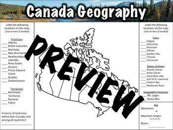 Canada Geography Worksheet