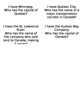 Canada I Have Who Has