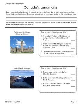 Canada! Landmarks of Canada - 7 Activities Plus