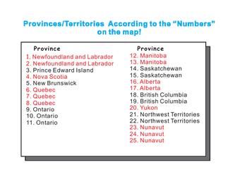 Canada Map Blank Game board