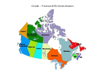 Canada Map - Blank with Province and Territory Capitals by MrFitz
