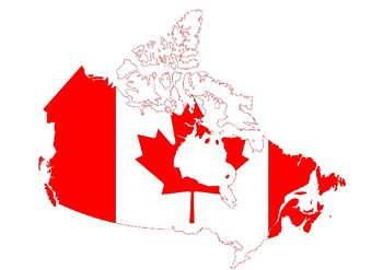Canada Flag Map on