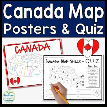 Canada Map Practice - Maps, Mnemonic Device, Practice Sheet & Quiz (Test)
