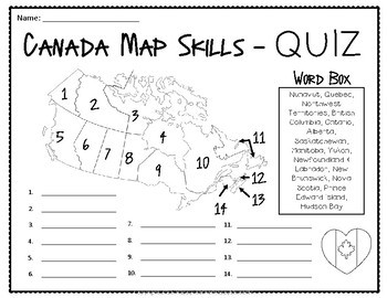 canada map practice maps mnemonic device practice sheet quiz test