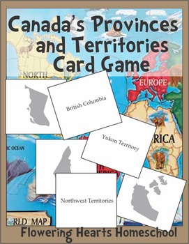 Canada Map Provinces and Territories Card Game