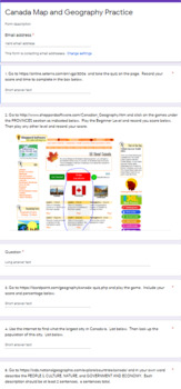 Canada Map and Geography Practice Google Forms