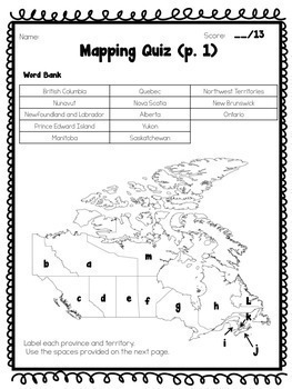 Canada Map Tests, Levelled