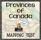 Canada Mapping Test with Answer Key