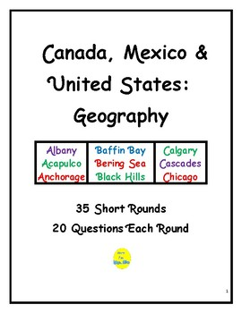 Canada, Mexico, & United States Geography Short Rounds