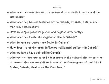 Canada, Mexico, and Caribbean Learning Goals and Essential Questions