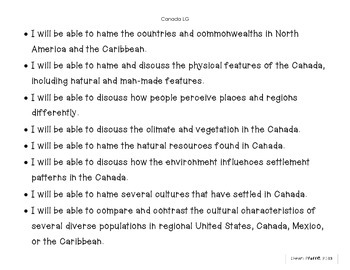 Canada, Mexico, and Caribbean Learning Goals and Essential
