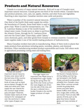 Canada: Our Neighbor to the North Informational Complex Text & Questions