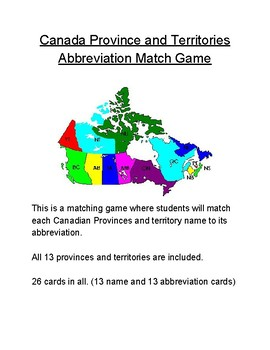 Canada Province And Territories Abbreviation Match Game