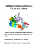 Canada Province and Territories Capital Match Game