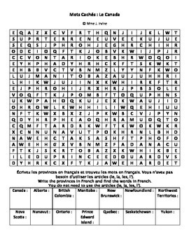 Canada Provinces French Vocabulary Wordsearch