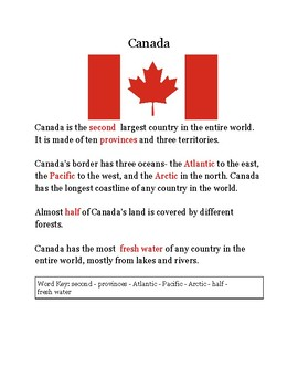 Canada, Provinces, and Territories Small Group Close Reading